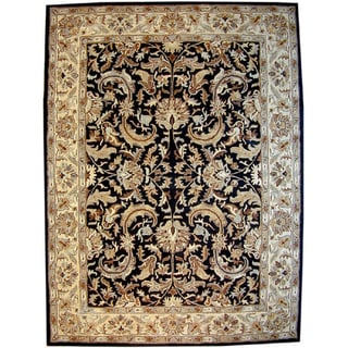 Hand-tufted Isphan Black/ Beige Wool Rug (8' x 11')