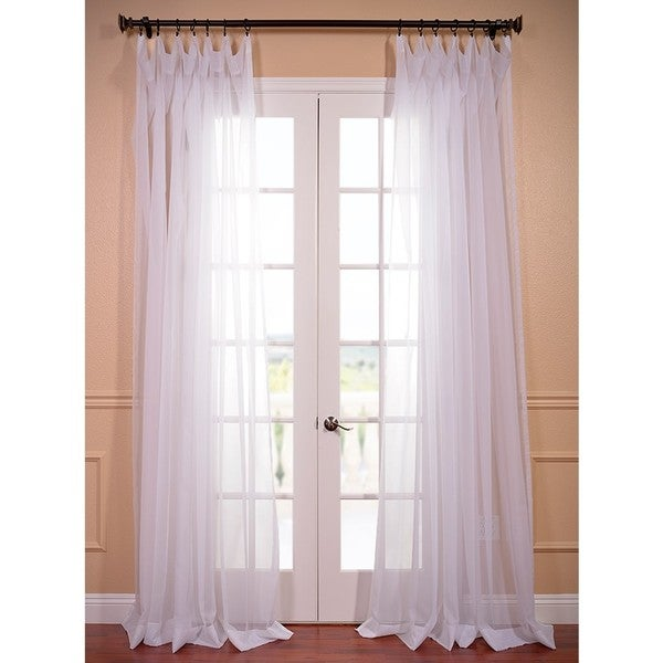 Exclusive Fabrics Extra Wide White Poly Voile Sheer Curtain Panel ...