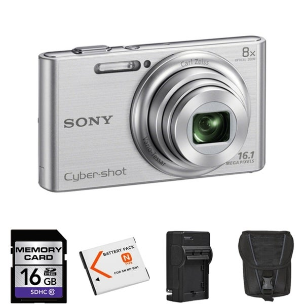 Sony Cyber Shot DSC-W730 16.1MP Silver Digital Camera 16GB Bundle