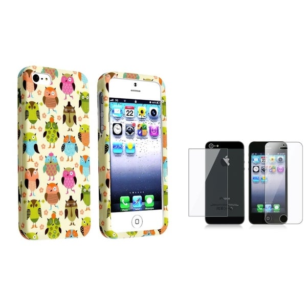 INSTEN Fancy Owls Phone Case Cover/ LCD Protector (Pack of 2) for Apple iPhone 5/ 5S