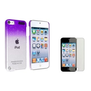 BasAcc Purple Waterdrop Case/ Screen Protector for Apple iPod Touch 5