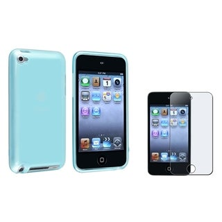 BasAcc Light Blue Rubber Case/ Screen Protector for Apple iPod Touch 4