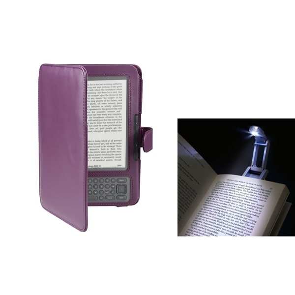 BasAcc Book Reading Light/ Purple Case for Amazon Kindle 3G