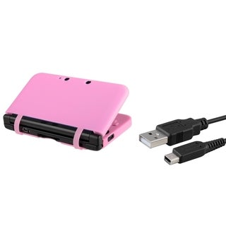 INSTEN Pink Case Cover/ USB Charging Cable for Nintendo 3DS XL