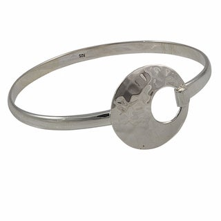 Handcrafted Sterling Silver Hammered Circle Bangle Bracelet (Mexico)