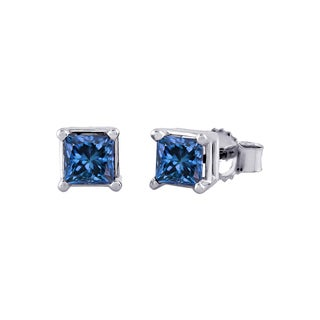 14k White Gold 1/4ct to 1ct TDW Princess Cut Blue Diamond Stud Earrings (I1-I2)