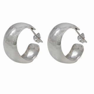Handcrafted Sterling Silver Everyday Hammered Hoop Earrings (Mexico)