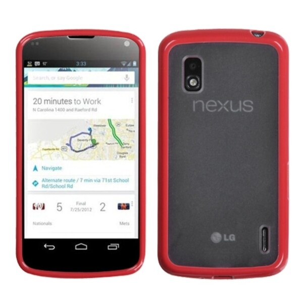 BasAcc Transparent Clear/ Solid Red Gummy Case for LG E960 Nexus 4