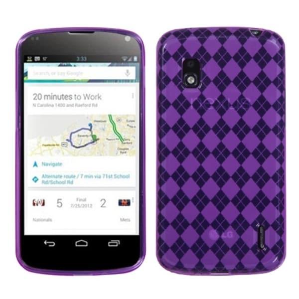 BasAcc Purple Argyle Pane Candy Skin Case for LG E960 Nexus 4