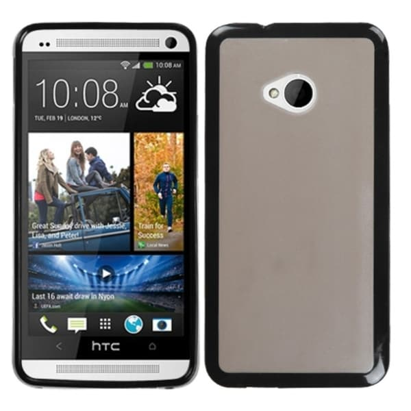 BasAcc Smoke/ Solid Black Gummy Case for HTC One M7