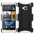 BasAcc Black/ White Car Rubberized Armor Stand Case for HTC One M7