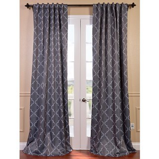 Seville Print Grey and Silver Blackout Curtain