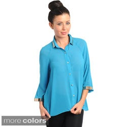Stanzino Women's Metallic Detailed Chiffon Shirt