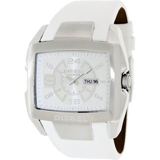 Diesel Men's White Leather Strap Watch