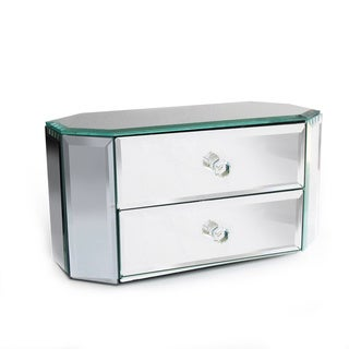 Decorative Home Oblong Octagon 2-drawer Mirror Jewelry Box