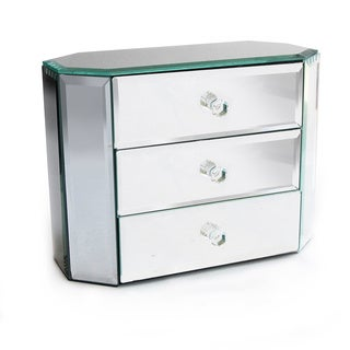 Decorative Home Oblong Octagon 3-drawer Mirror Jewelry Box