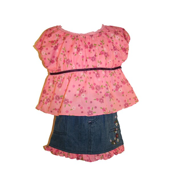 Beluga New York Pink Floral Print Denim Skirt Set