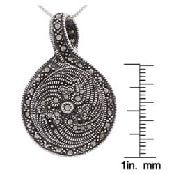 Glitzy Rocks Sterling Silver Marcasite and Onyx Art Deco Pendant