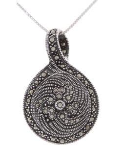 Glitzy Rocks Sterling Silver Marcasite and Onyx Art Deco Pendant
