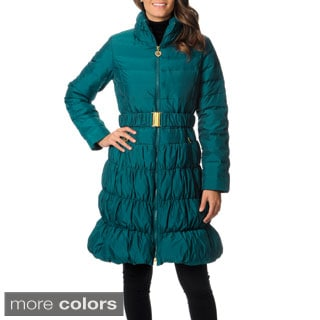 Betsey Johnson Women's Black Ruffled Walker-length Down Coat