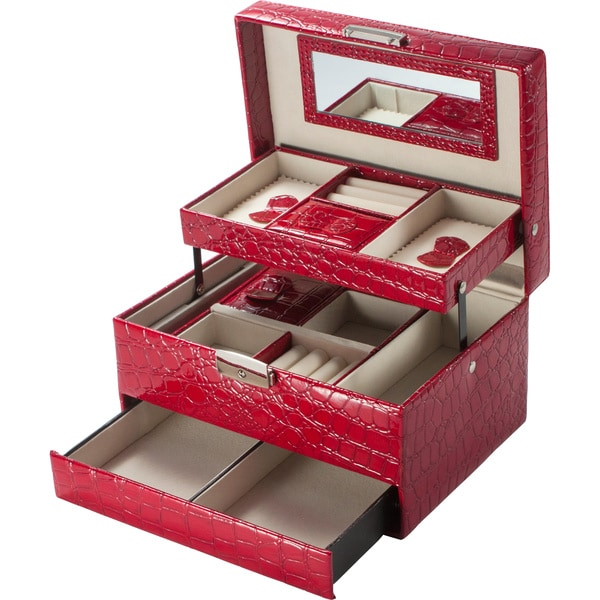 Cheri Bliss Red Faux Croc Embossed Jewelry Box