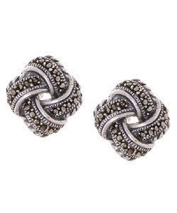 Glitzy Rocks Sterling Silver Marcasite Love Knot Earrings