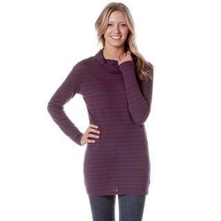AtoZ Women's Fig Striped Cowl Neck Tunic