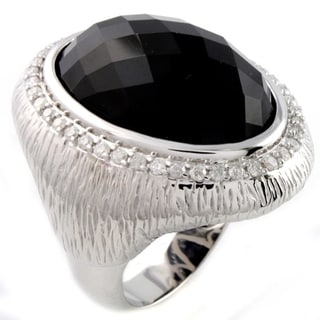 Beverly Hills Charm Silver Black Agate and 1/2ct TDW Diamond Ring (H-I, I2-I3)