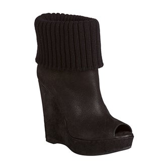 Prada Leather Peep-toe Wedge Boots