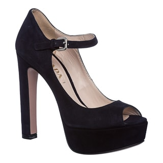 Prada Women's 'BLEU' Suede Peep-toe Mary Jane Pumps