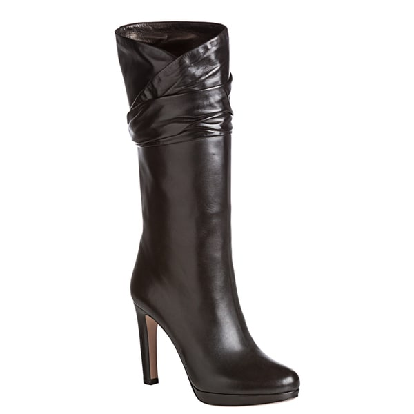 Prada Women's Black Mid-calf Ruched Leather Boots