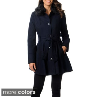 Laundry By Design Women's Black Wool-blend Belted Coat