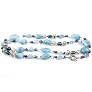 Light Blue Stone and Silver-tone Bead Necklace (China)