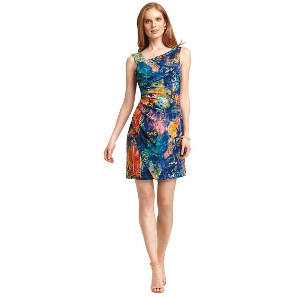 Bluebird Multi-print Silk Sleeveless Sheath Dress