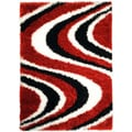 Chic Luxurious Soft Shag Waves Red Black White Area Rug (3'4 x 4'8)