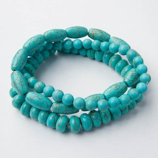 Set of 3 Turquoise Howlite Bracelets (China)