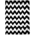 Chic Luxurious Soft Shag Chevron Black & White Area Rug (6'7 x 9'3)