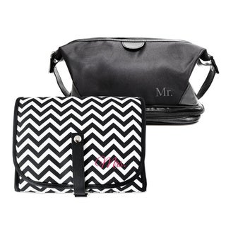 Mr. & Mrs. Travel Toiletry Bag Set with Grooming Tools