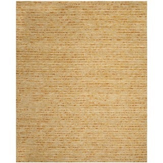 Hand-knotted Vegetable Dye Chunky Gold Hemp Rug (8' x 10')