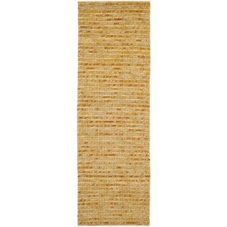 Hand-knotted Vegetable Dye Chunky Gold Hemp Rug (2' 6 x 8')