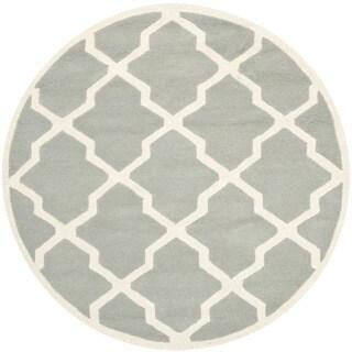 Safavieh Handmade Moroccan Chatham Grey/ Ivory Wool Rug (5' Round)