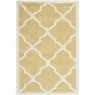 Safavieh Handmade Moroccan Chatham Light Gold/ Ivory Wool Rug (2' x 3')