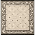 Safavieh Indoor/ Outdoor Courtyard Sand/ Black Rug (7'10 Square)