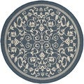 Safavieh Indoor/ Outdoor Courtyard Geometric-pattern Navy/ Beige Rug (5'3 Round)