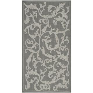 Safavieh Indoor/ Outdoor Courtyard Anthracite/ Light Grey Rug (2'7 x 5')
