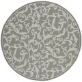 Safavieh Indoor/ Outdoor Courtyard Anthracite/ Light Grey Rug (5'3 Round)