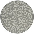 Safavieh Indoor/ Outdoor Courtyard Anthracite/ Light Grey Rug (6'7 Round)