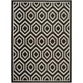 Safavieh Indoor/ Outdoor Courtyard Geometric Black/ Beige Rug (6'7 x 9'6)