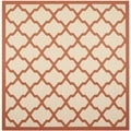 Safavieh Indoor/ Outdoor Courtyard Beige/ Terracotta Rug (7'10 Square)