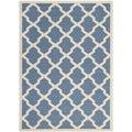 Safavieh Indoor/ Outdoor Courtyard Trellis-pattern Blue/ Beige Rug (4' x 5'7'')